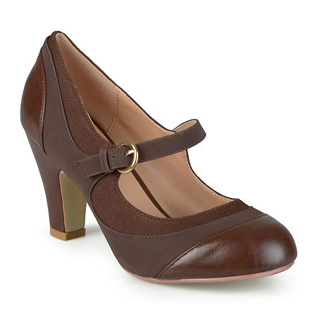 Journee Collection Womens Siri Mary Jane Pumps, 7 1/2 Medium, Brown