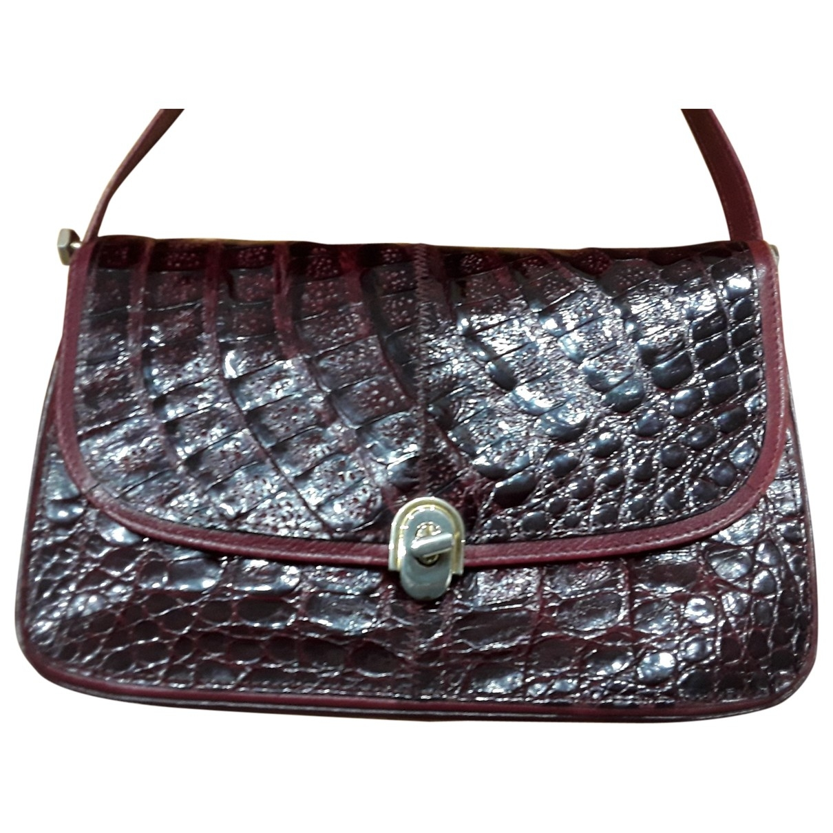 Non Signé / Unsigned \N Burgundy Crocodile handbag for Women \N