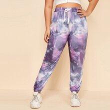 Pantalones deportivos de cintura con cordon de tie dye - grande