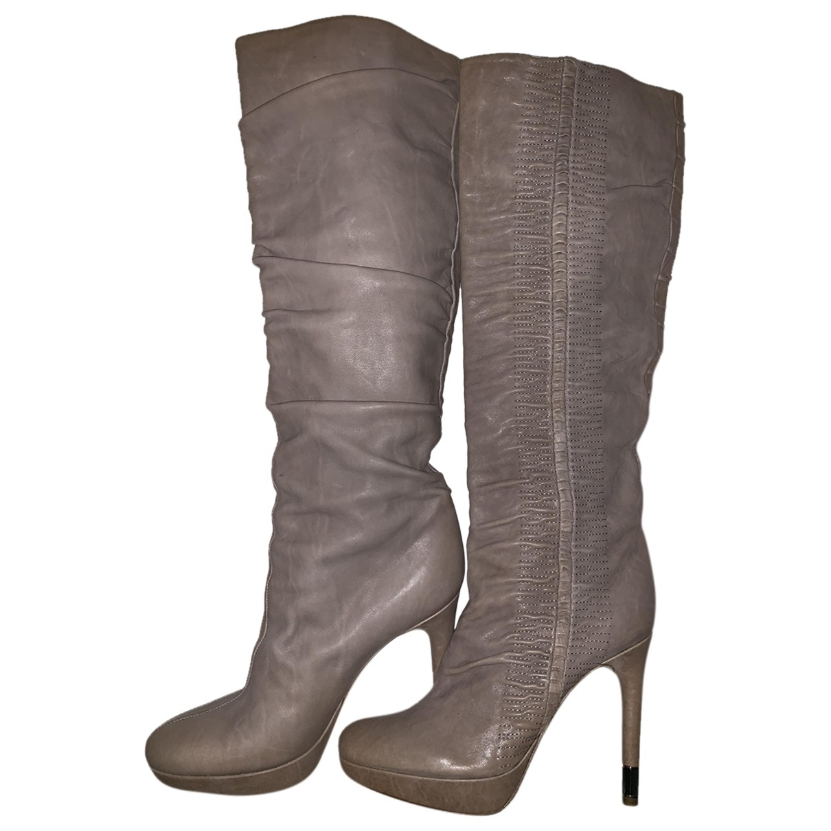 Dior \N Beige Leather Boots for Women 38 EU