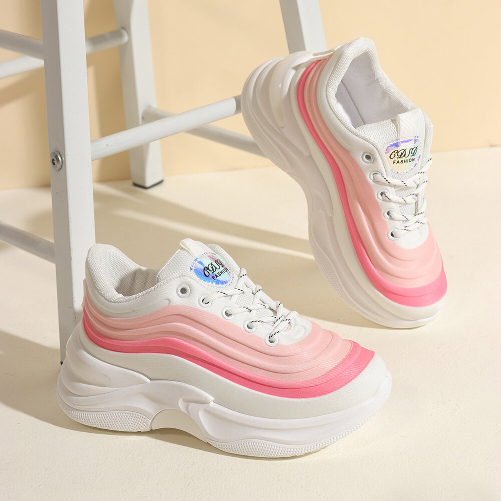 Women Waving Wear Color Casuals Chic Sneakers