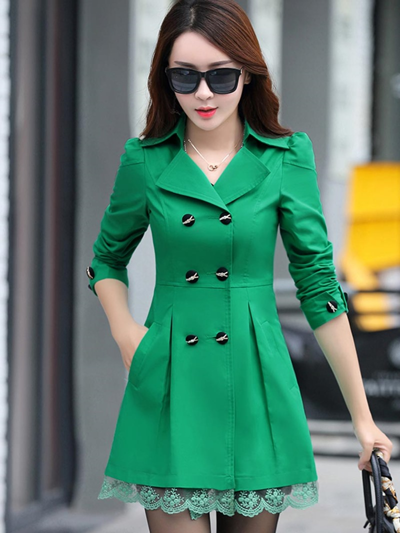Ericdress Notched Lapel Plain Double-Breasted Trench Coat