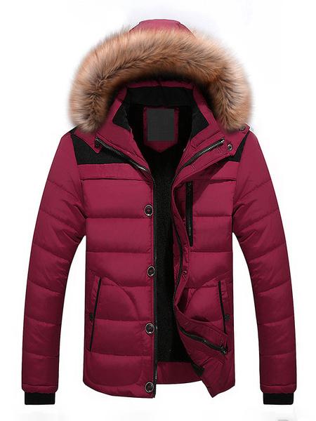 Milanoo Men Quilted Coat Black Winter Coat Hoodie Long Sleeve Puffer Coat