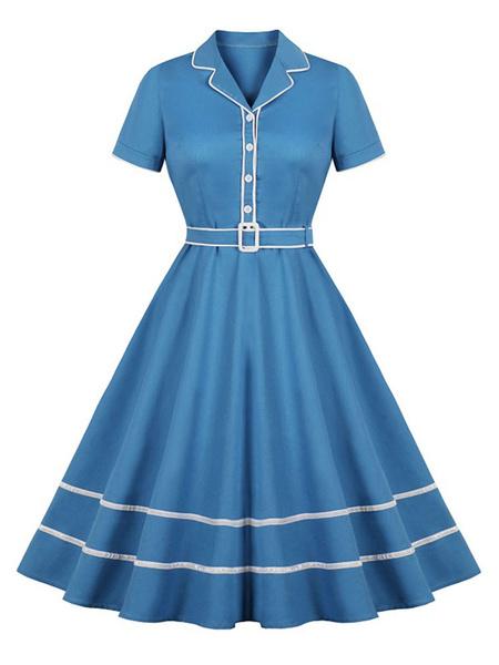 Milanoo Retro Dress 1950s Blue Woman\'s Buttons Short Sleeves Turndown Collar Swing Dress