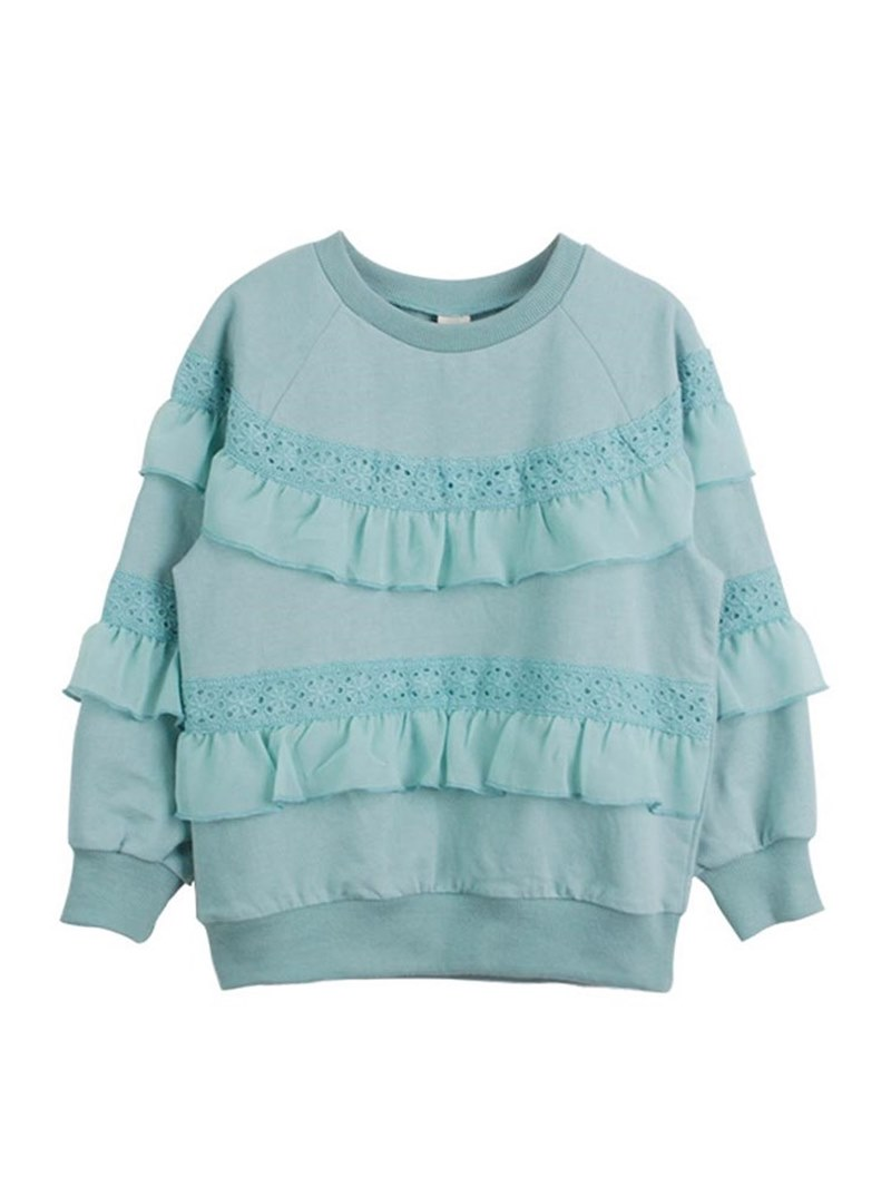 Ericdress Ruffles Lace Plain Scoop Girl's Pullover Plain Hoodies