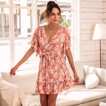 Flutter Sleeve Ruffle Hem Belted Floral Dress
