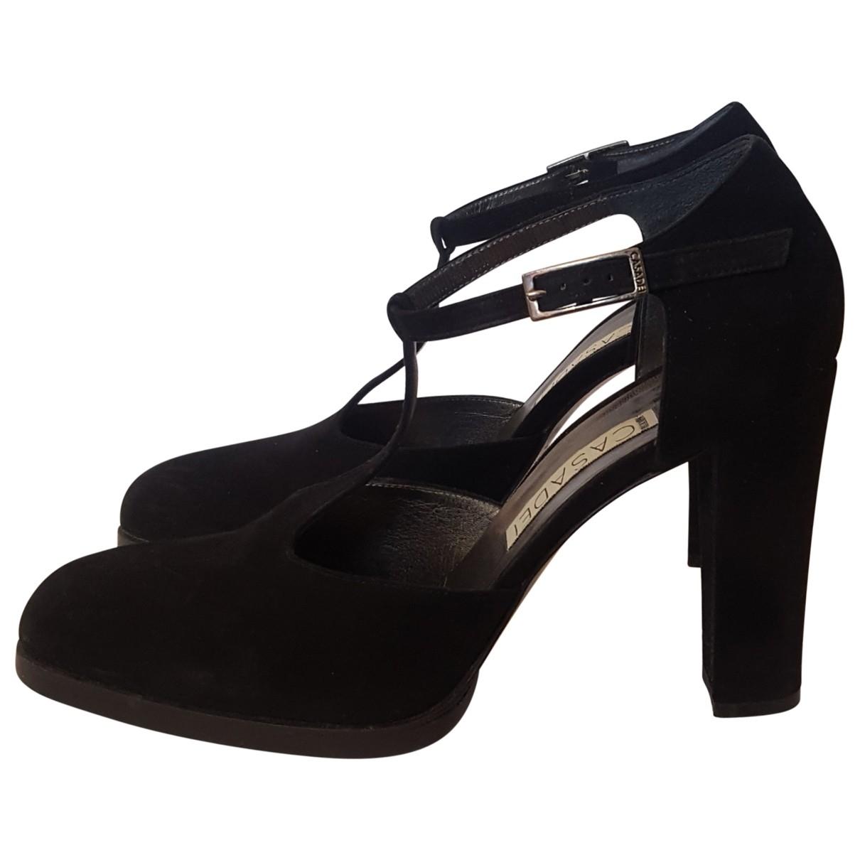 Casadei - Sandales   pour femme en suede - noir