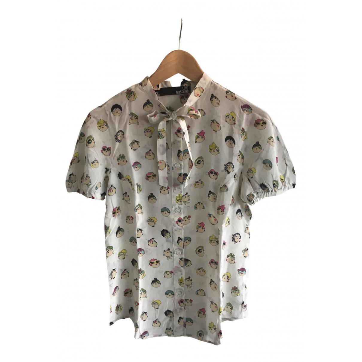 Moschino Love \N White Silk  top for Women 42 IT