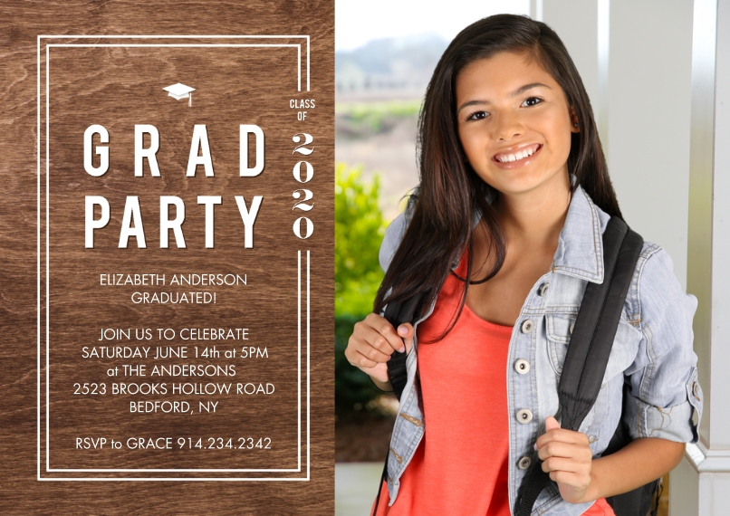 Graduation Invitations Flat Glossy Photo Paper Cards with Envelopes, 5x7, Card & Stationery -2020 Grad Party Woodgrain by Tumbalina