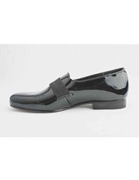 Men's Cushion Outsole Genuine Patent Black Slip on Shoes