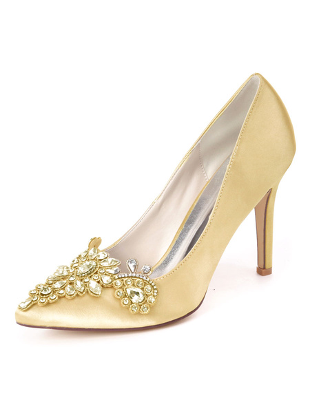 Milanoo Wedding Guest Shoes Satin Pointed Toe Rhinestones Party Shoes Bridal Shoes