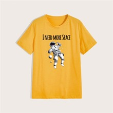 Men Slogan And Astronaut Print Tee