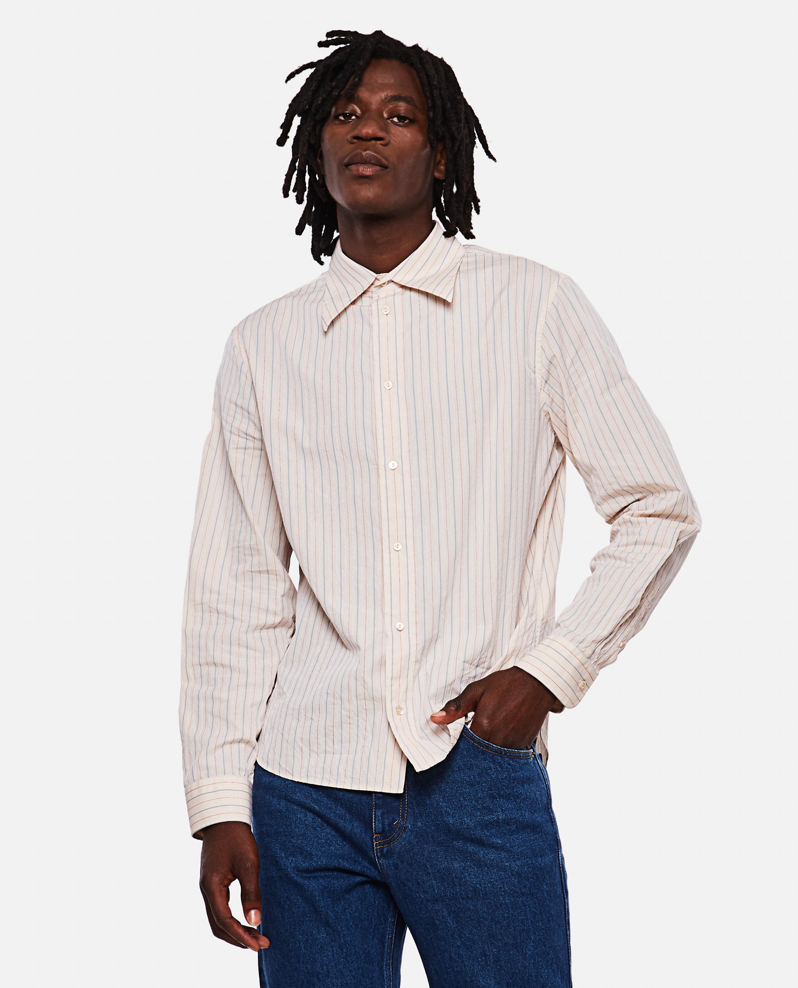Delave effect striped cotton shirt