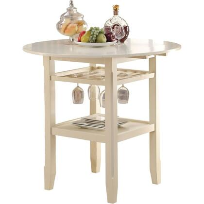 BM186921 Round Wooden Counter Height Table With Wine Glass Shelf