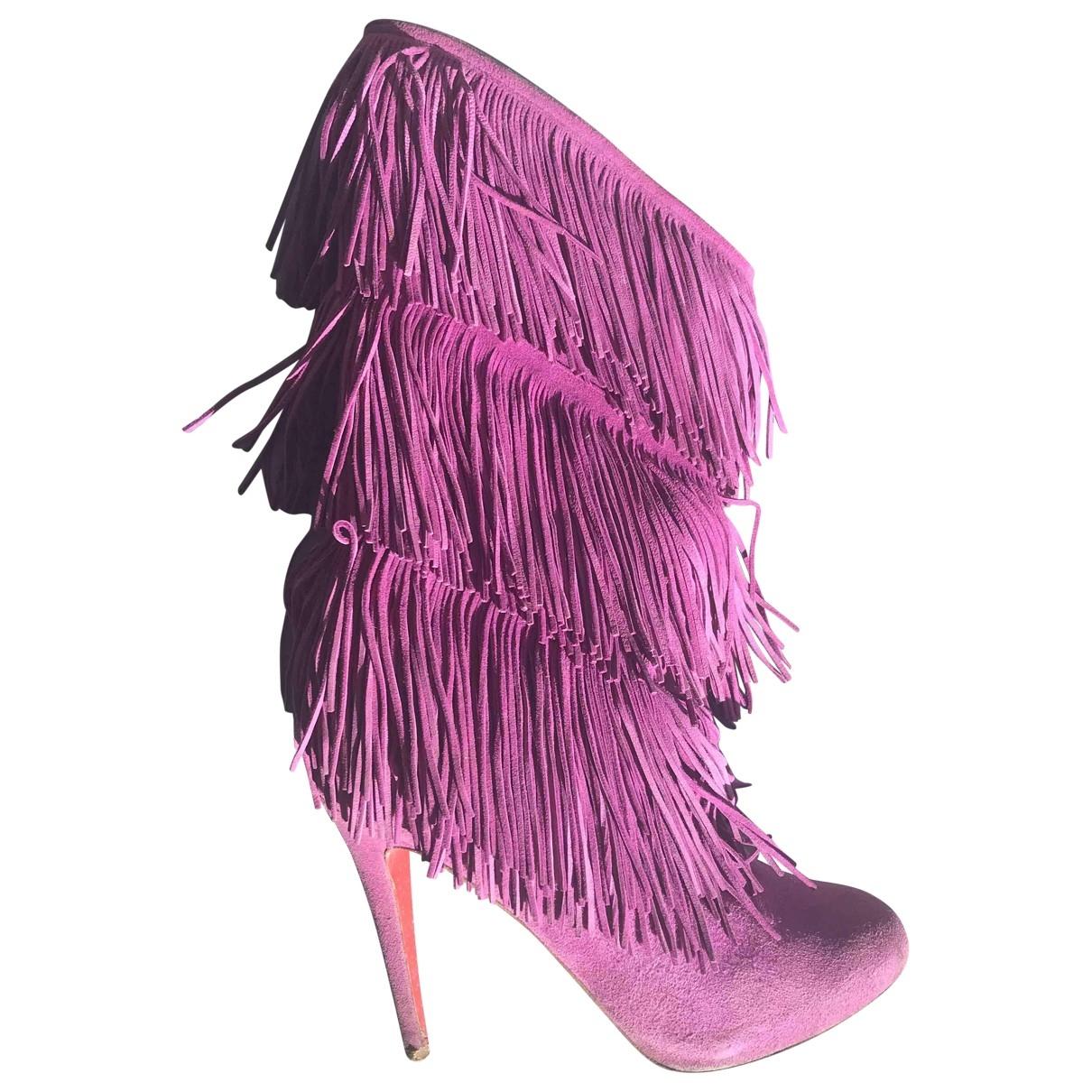 Christian Louboutin - Bottes   pour femme en suede - violet