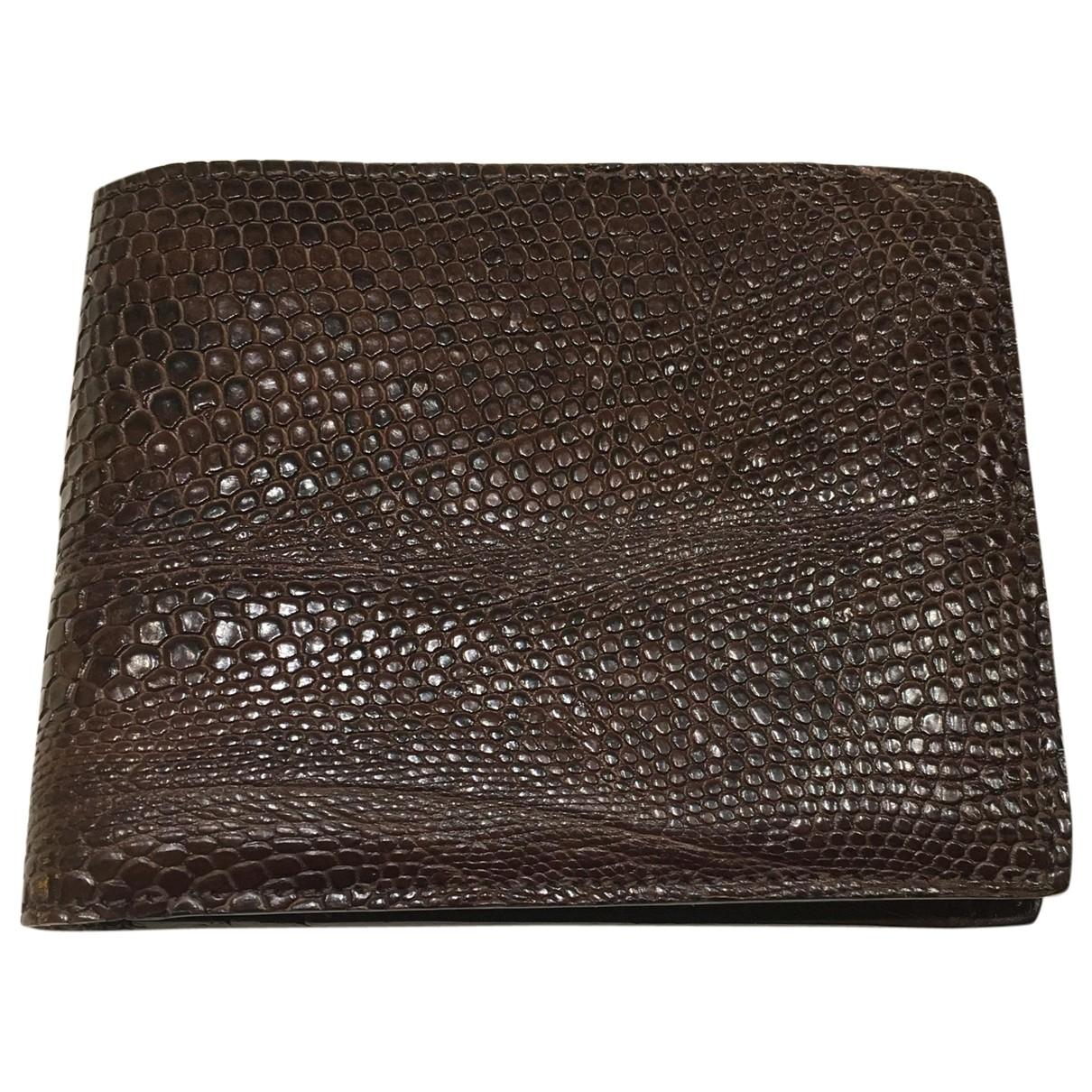 Lanvin \N Brown Lizard Small bag, wallet & cases for Men \N