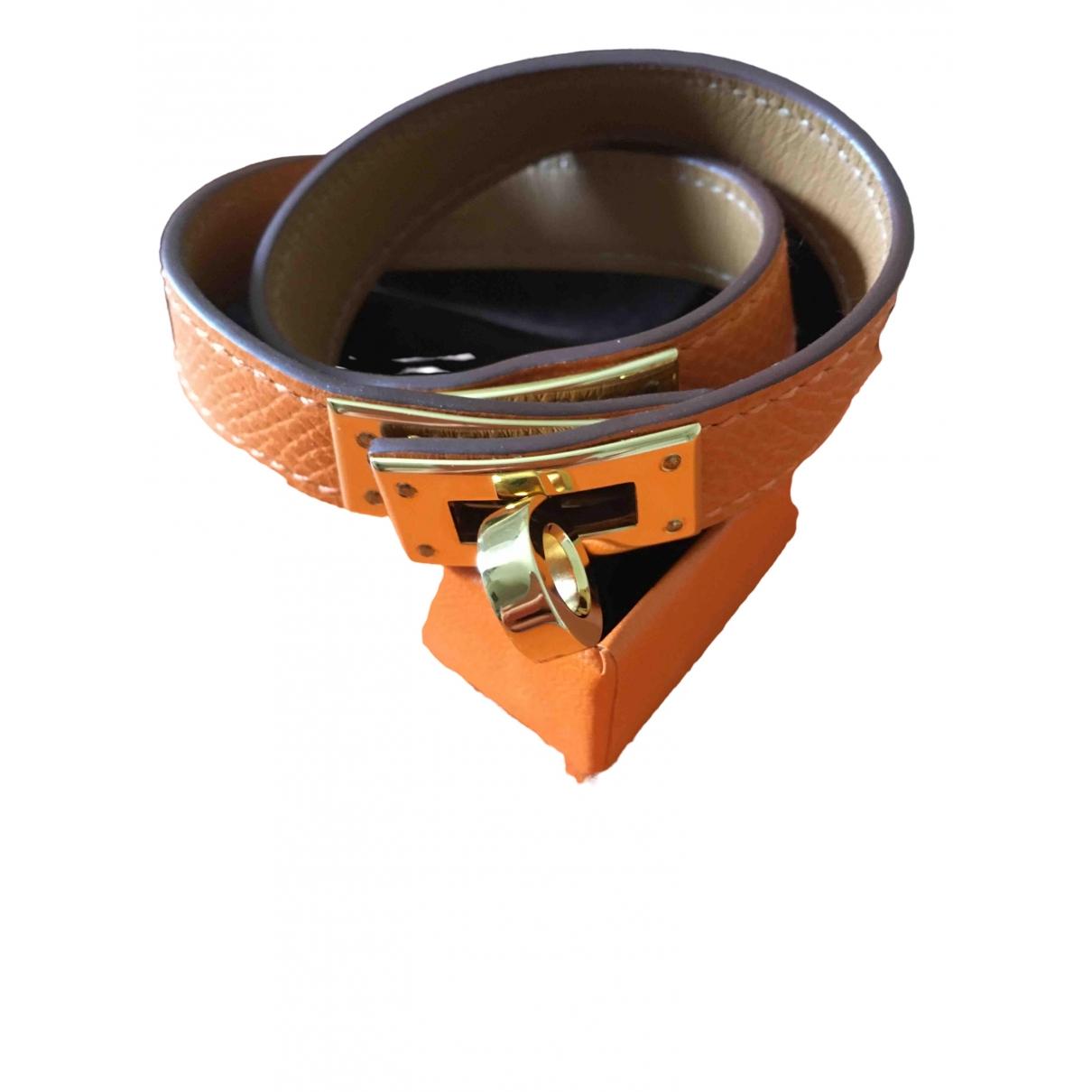 Hermes - Bracelet Kelly Double Tour pour femme en cuir - orange