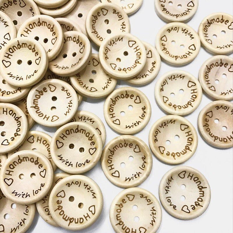 100 Pcs Classic Bowl-shaped Buttons Carving Letter Handmade Solid Color Button