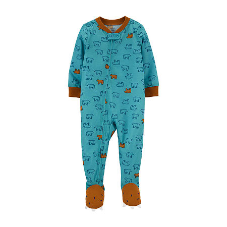 Carter's Baby Boys Long Sleeve One Piece Pajama, 12 Months , Blue