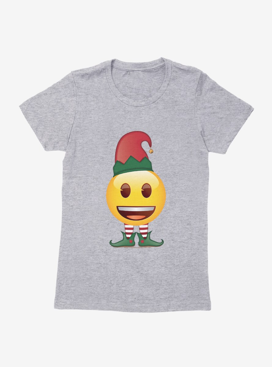 Emoji Holiday Icons Happy Face Elf Womens T-Shirt