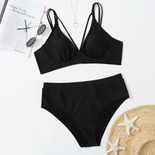 Plus Harness High Waisted Bikini Swimsuit