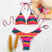 Bañador bikini halter triangulo de color combinado