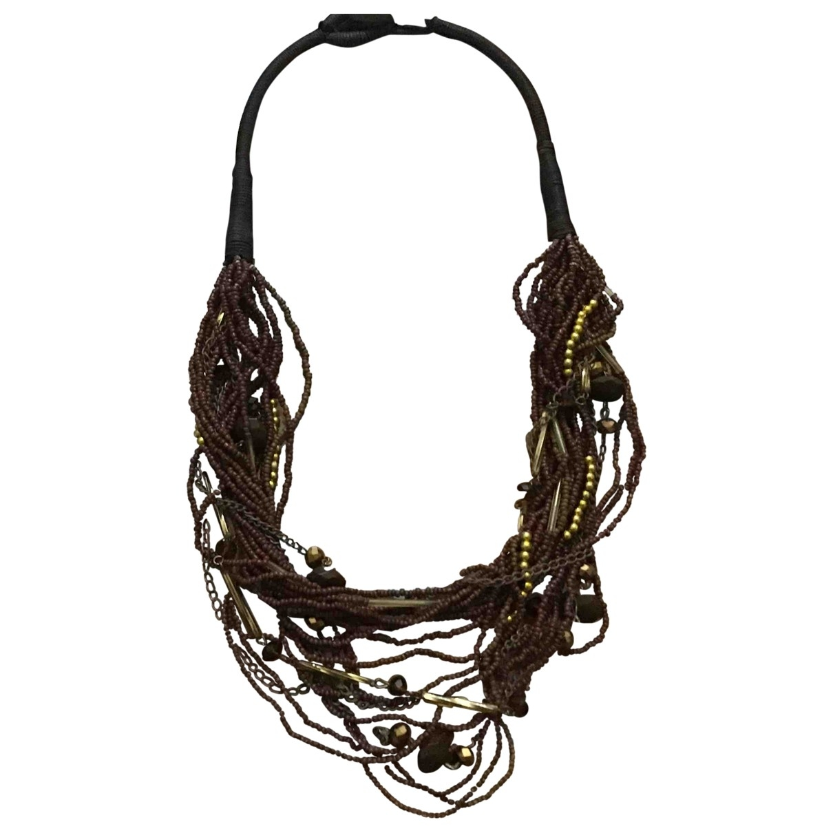 - Collier Motifs Ethniques pour femme en toile - marron
