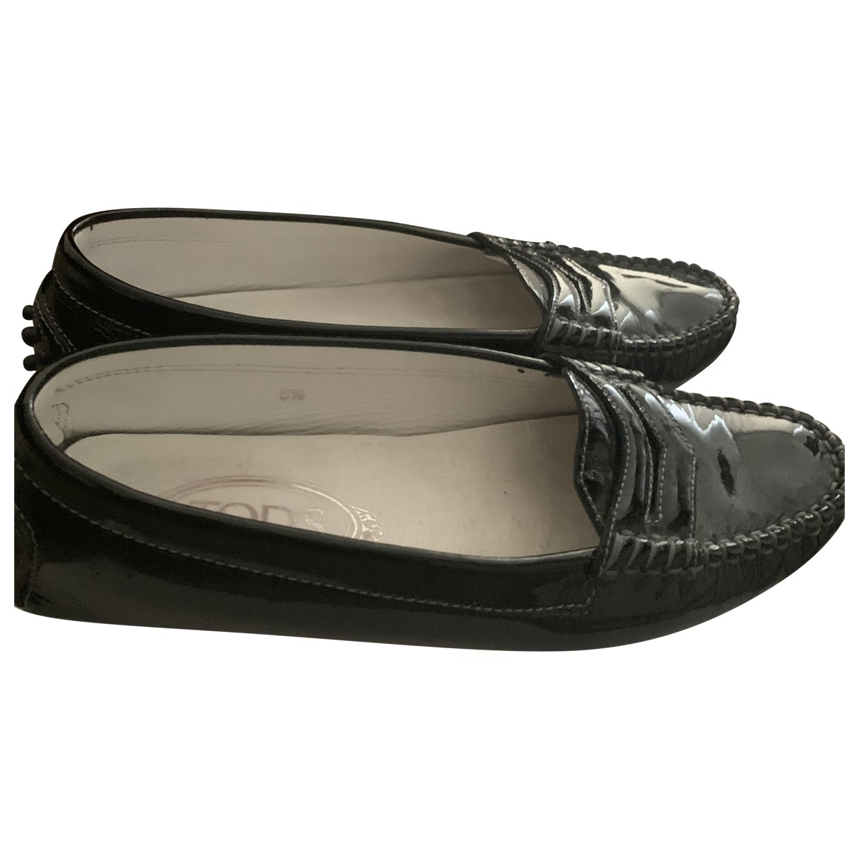 Tod's Gommino Black Patent leather Flats for Women 6.5 US