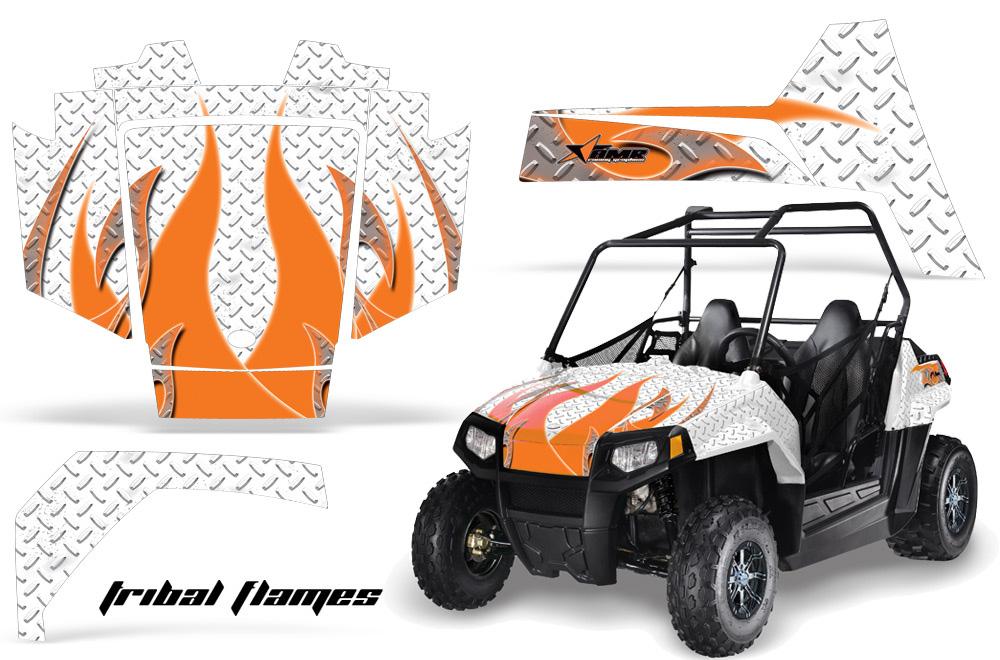 AMR Racing Full Custom UTV Graphics Decal Kit Wrap Tribal Flames White Polaris RZR 170 Youth 14-18