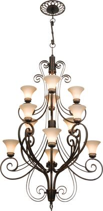 Mirabelle 5189MG/1339 (4+4+4)-Light 3 Tier Foyer in Modern Gold with Amber Tulip Standard Glass