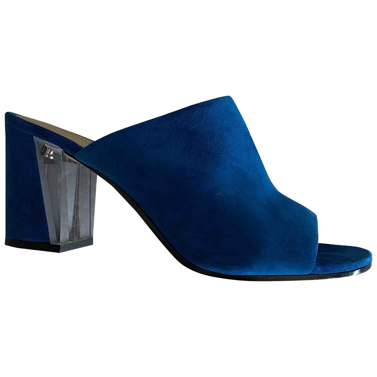 Nine West - Sandales   pour femme en cuir - bleu