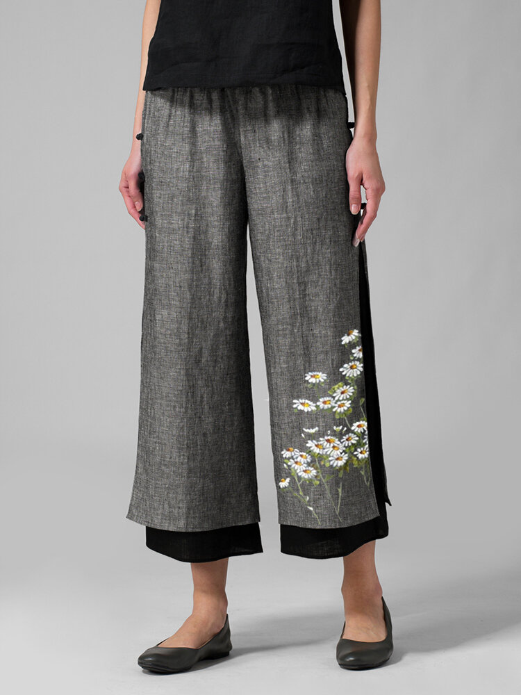 Daisy Floral Printed Two Layer Elastic Waist Pants For Women
