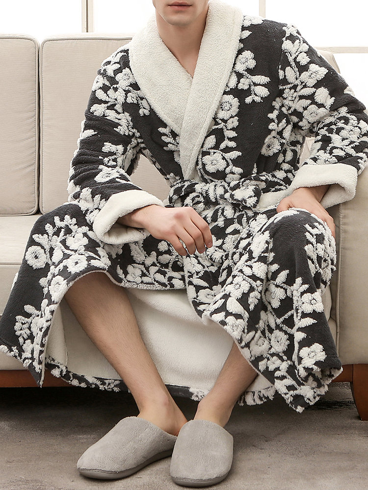 Mens Knitting Thicken Flannel Fleece Thermal Floral Pockets Bathrobe Couple Sleep Pajamas