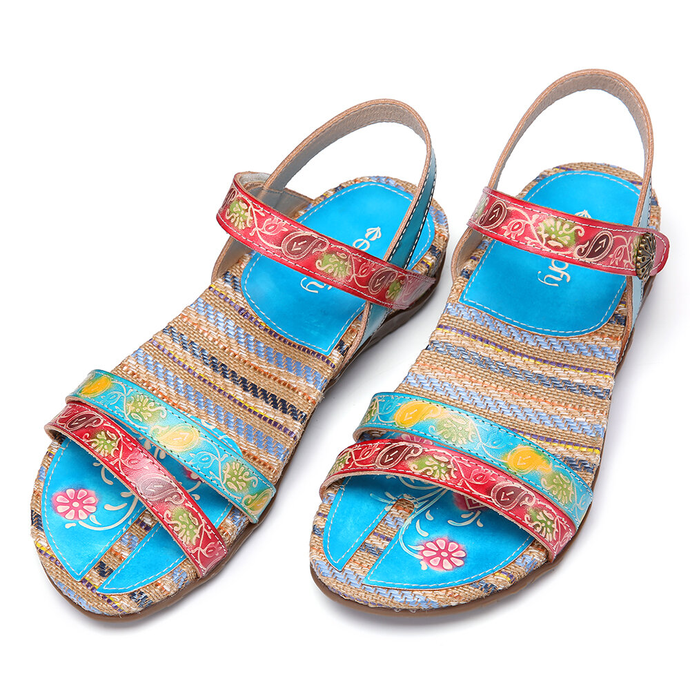 SOCOFY Retro Leather Embossed Floral Buckle Flat Slingback Sandals Espadrilles