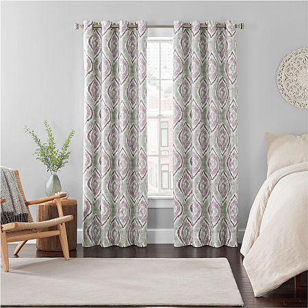 Eclipse Ambiance Ikat Draft Stopper Energy Saving 100% Blackout Grommet-Top Single Curtain Panel, One Size , Red