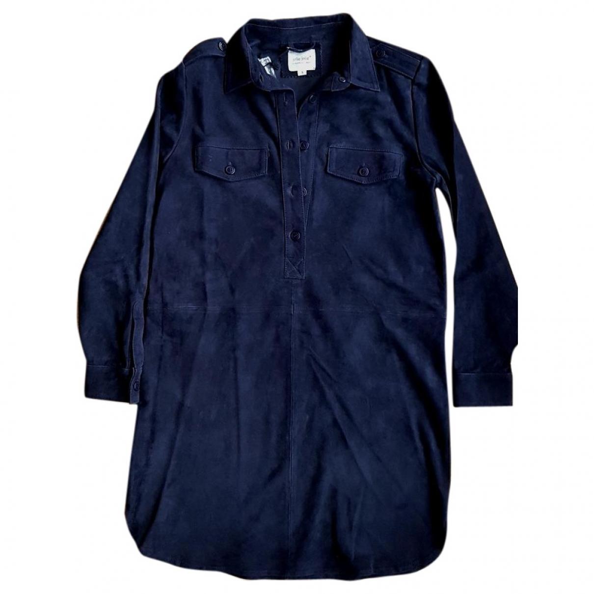 - Robe   pour femme en suede - marine