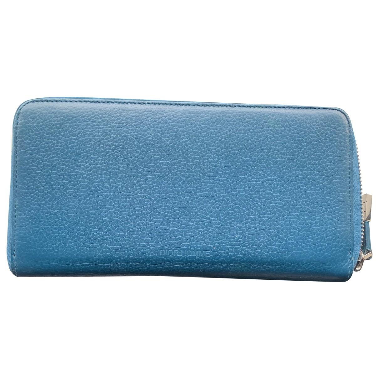 Dior Homme \N Blue Leather Small bag, wallet & cases for Men \N