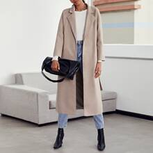 Notched Collar Split Hem Belted Overcoat