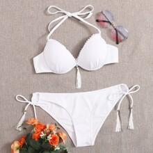 Tassel Underwire Tie Side Bikini Swimsuit