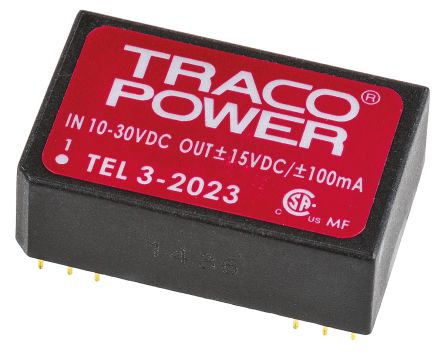 TRACOPOWER TEL 3 3W Isolated DC-DC Converter Through Hole, Voltage in 10 → 30 V dc, Voltage out ±15V dc