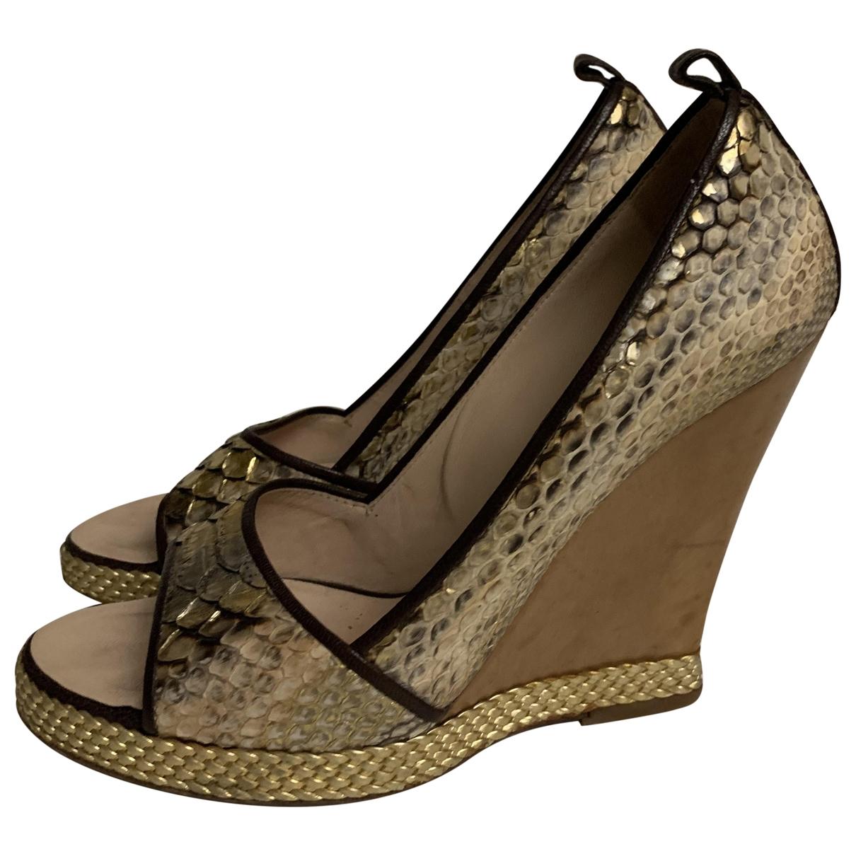 Giuseppe Zanotti \N Gold Leather Heels for Women 38 EU