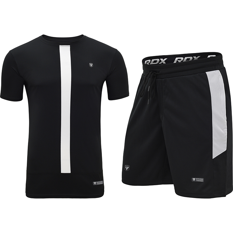 RDX T15 Nero Black Ensemble T-shirt et Short XL Blanc noir Polyester
