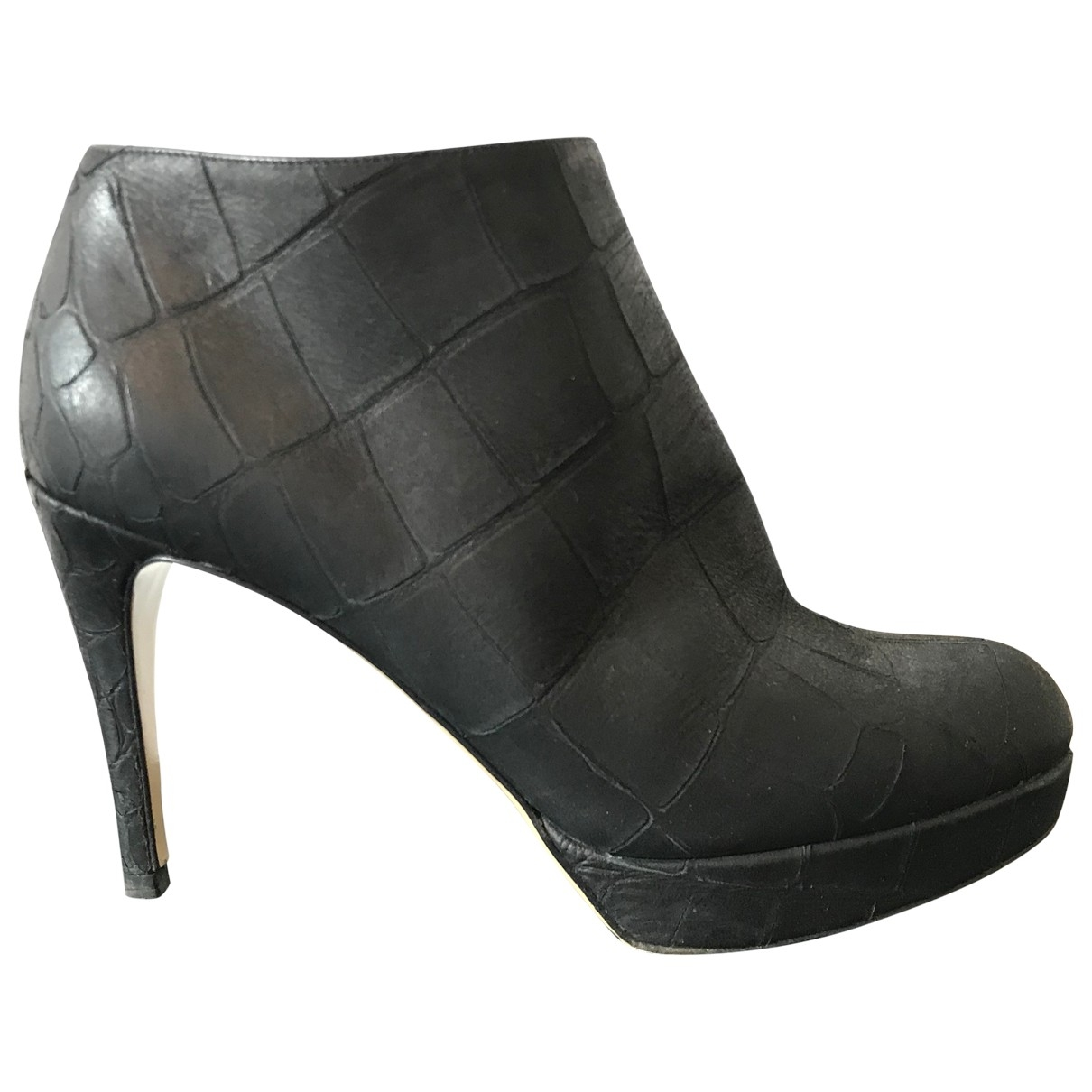 Emporio Armani \N Black Leather Ankle boots for Women 37 EU