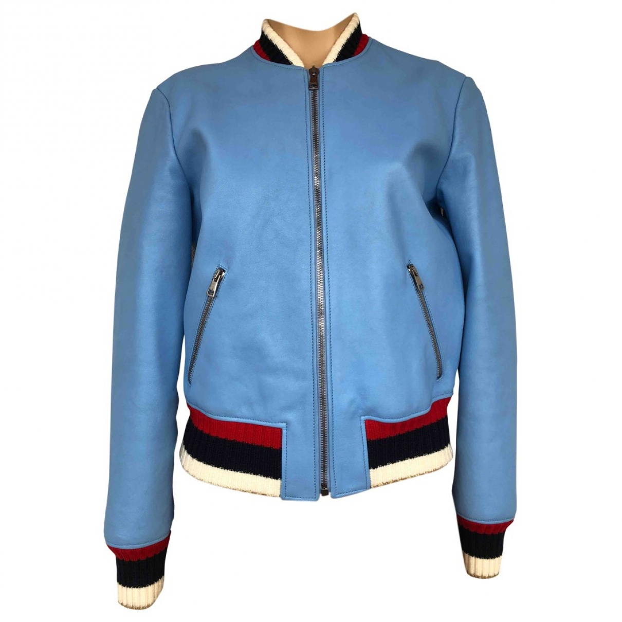 Gucci \N Blue Leather  top for Women 40 IT