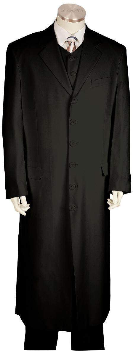 6 Button Black Long Zoot Suit Mens