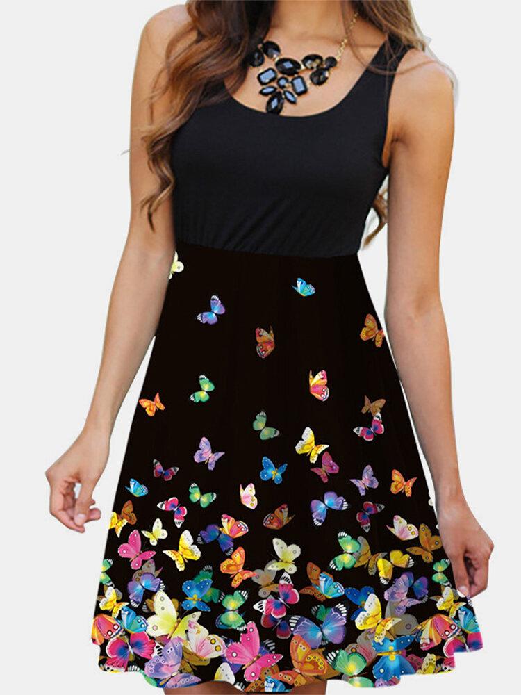 Butterfly Printed Sleeveless O-neck Midi Dress