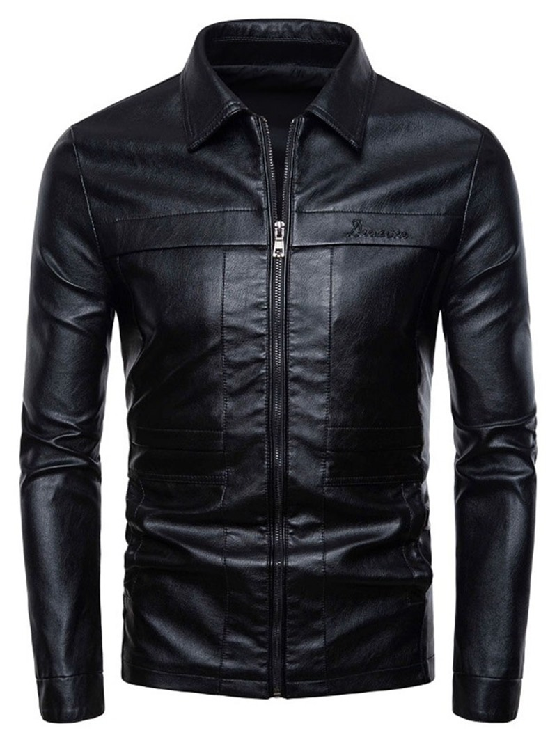 Ericdress Plain Lapel Zipper Casual Slim Men's Jacket