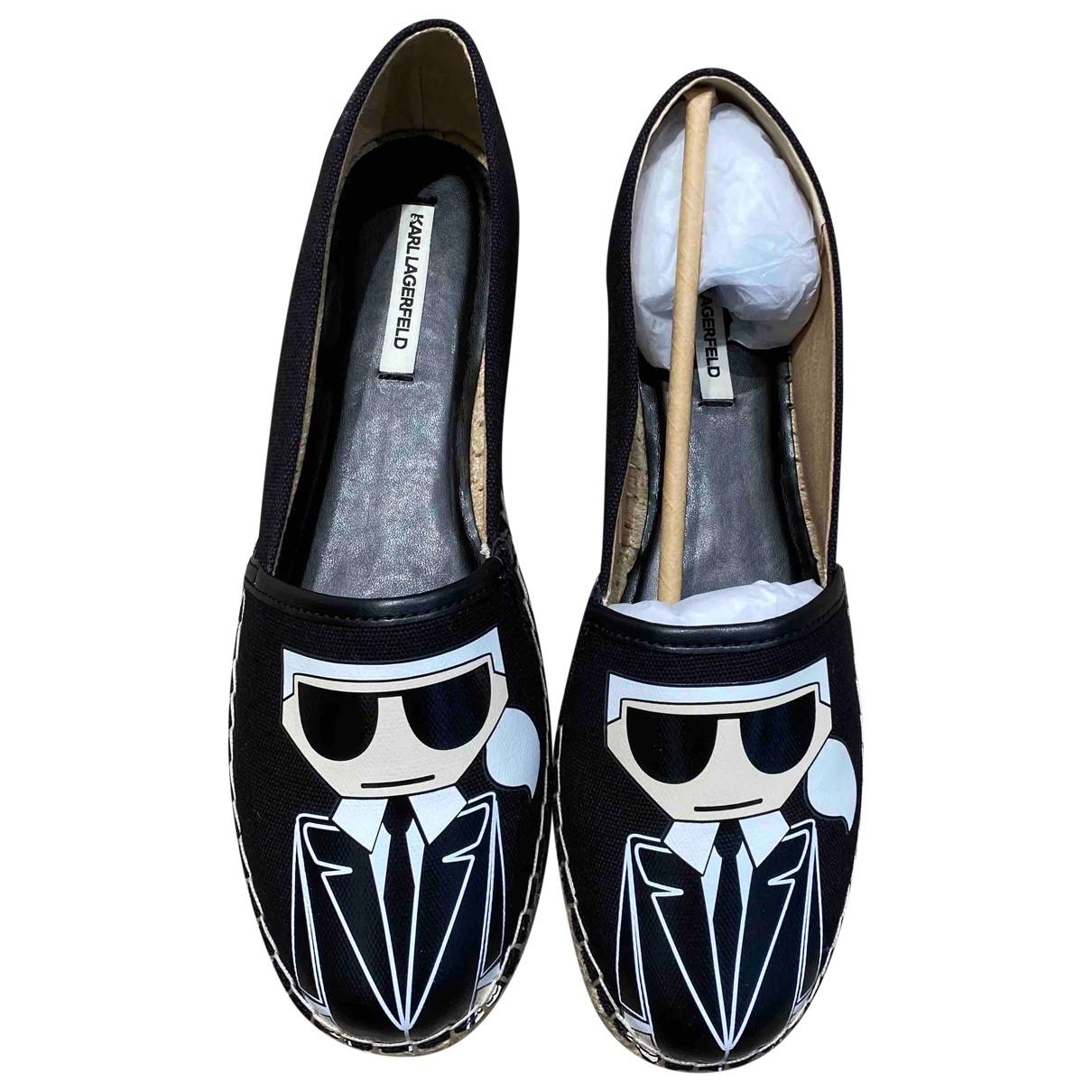 Karl Lagerfeld - Espadrilles   pour femme en toile - noir
