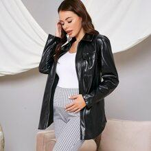 Maternidad abrigo con cinturon con bolsillo