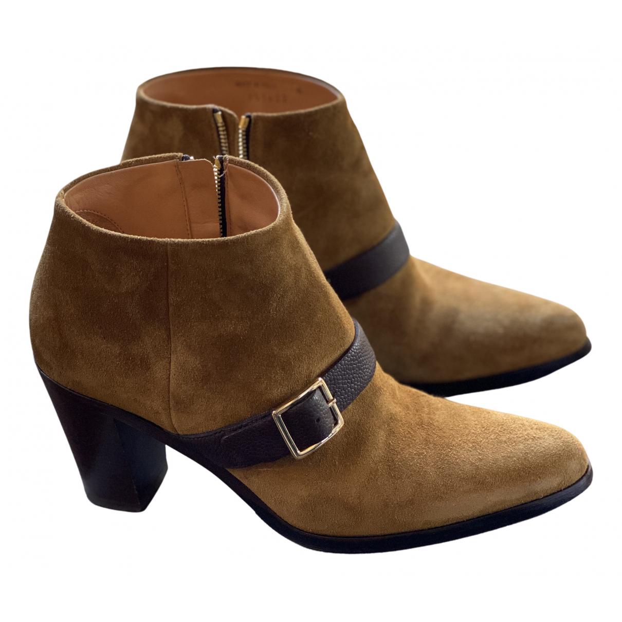 Heschung - Bottes   pour femme en velours - marron